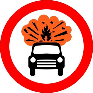 No vehicles carrying explosives